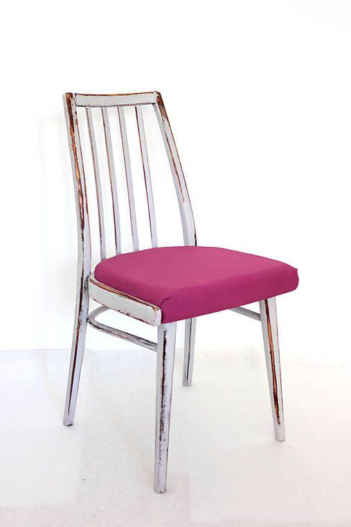 retro-design / Patinovaná Šedoružová TON 1960 stolička