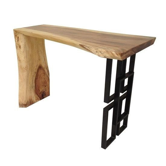 A unique sight for any setting, this natural teak table with a metal patterned support will set your living arrangements apart. The smooth, finished top is ideal for display or serving while the natural wood grain casts an elegant look.
