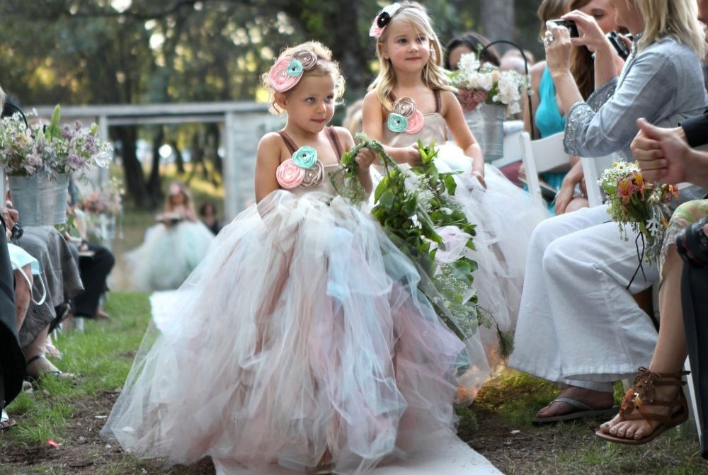 Tulle with Flower Girls Boquet