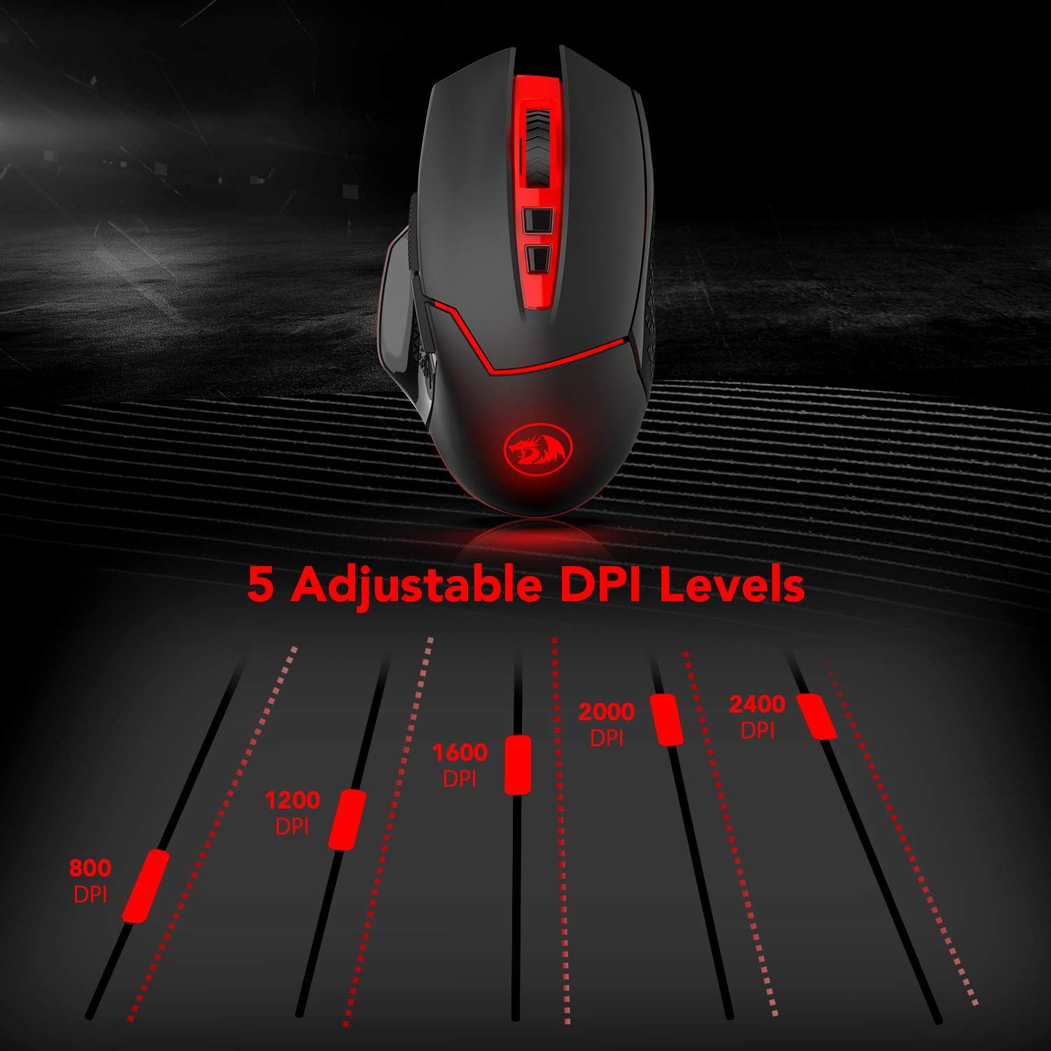 Redargon M690 1 Wireless Gaming Mouse With Dpi Shifting 2 Side Buttons 2400 Dpi Ergonomic Design 7 Buttons Black Gaming M Gaming Mouse Mouse Gaming Mice
