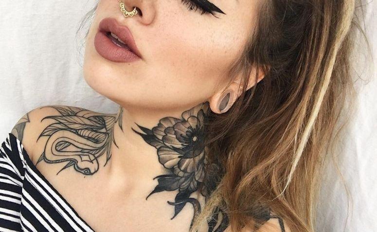 Neck Tattoo 60 Stylish And Feminine Ideas Flower Neck Tattoo