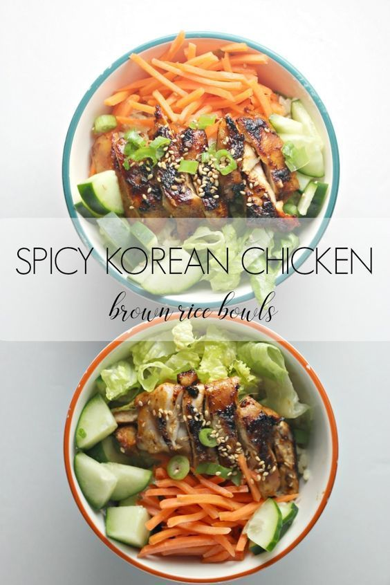 1)	Easy Spicy Korean Chicken Brown Rice Bowls. Made with organic, free range Foster Farms chicken thighs that has been marinated in a savory gochujang sauce and served over brown rice and fresh veggies. Perfect for meal planning.  #AD