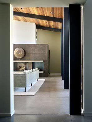 Living Greyconcretefloors Bigbrownfireplace Jpg Image By Candycoatedmuah P Wood Beam Ceiling Wood Ceilings Inside Interiors