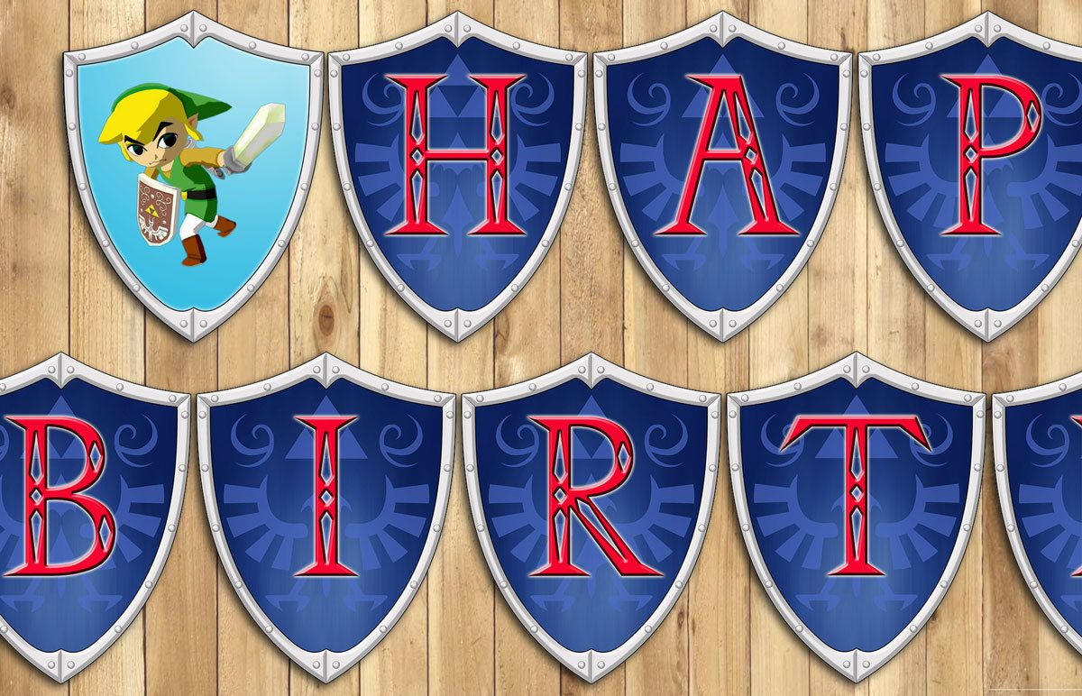 Legend Of Zelda Birthday Banner Cartoon Zelda Banner Link Banner