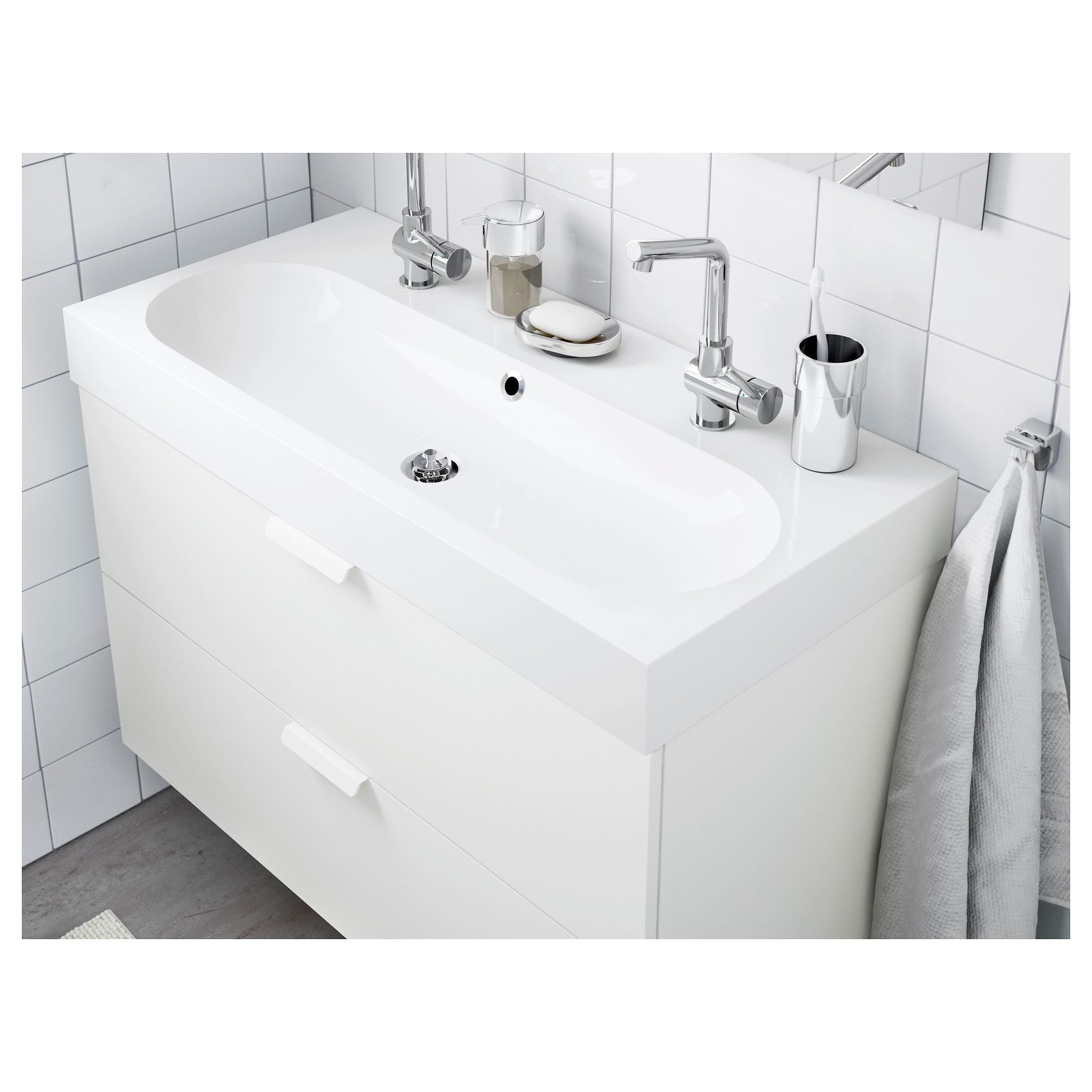 Braviken Sink White 39 3 8x18 7 8x3 7 8 Small Double Sink Vanity Sink Small Bathroom