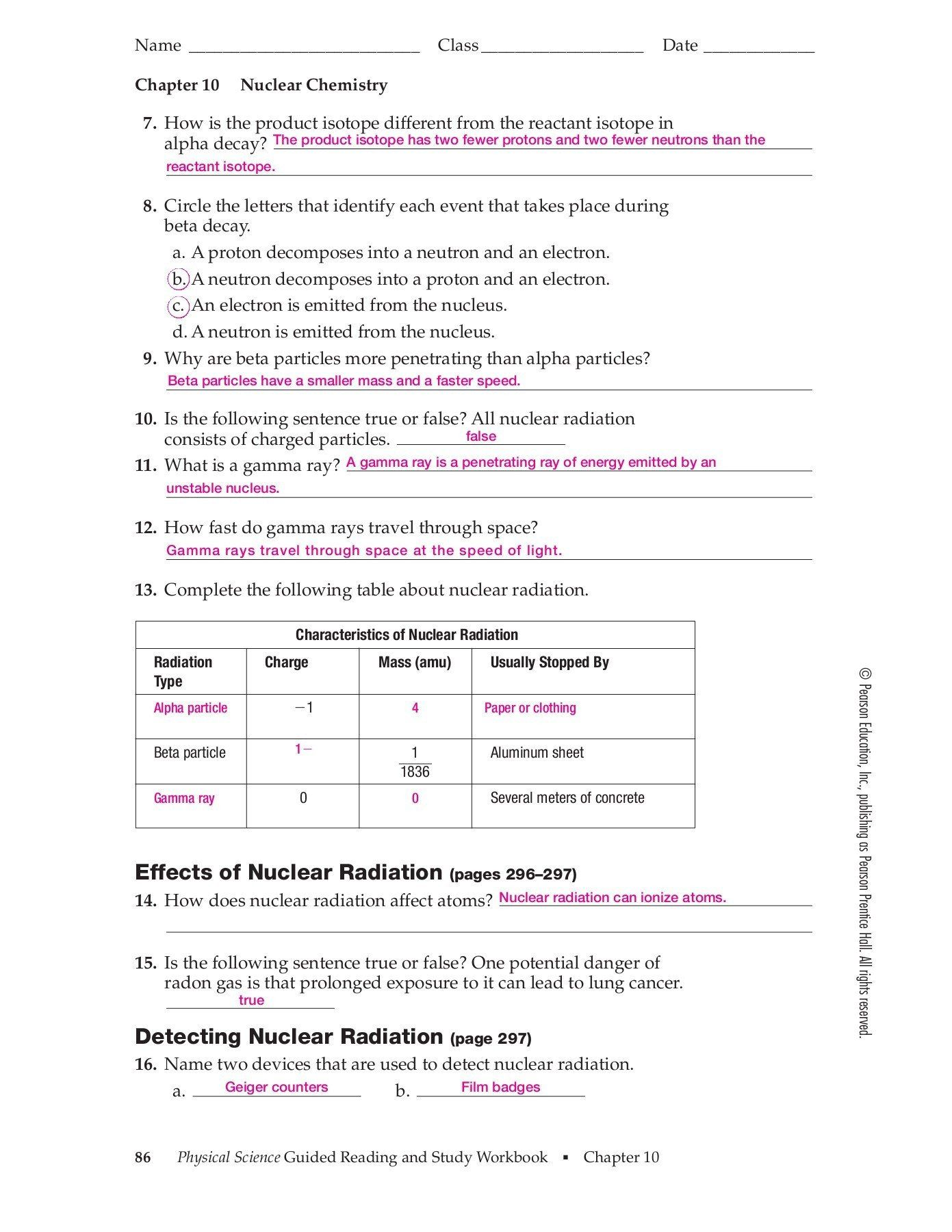 Nuclear Chemistry Review Worksheet Chapter 10 Nuclear