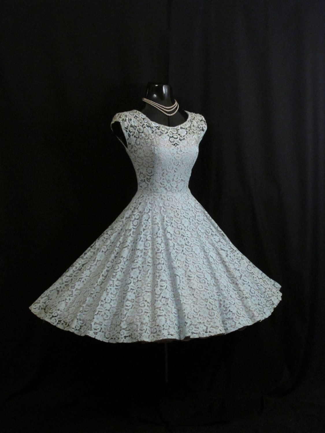 Vintage 1950\'s 50s Baby Blue Floral Lace Sequins Pearls Party Prom ...