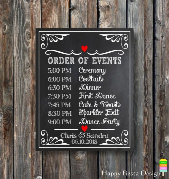 Printable Wedding Chalkboard Order Of Events Sign Wedding Day