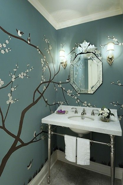 What an amazing bathroom sink! Love the unique wall design too ♥ Click this…