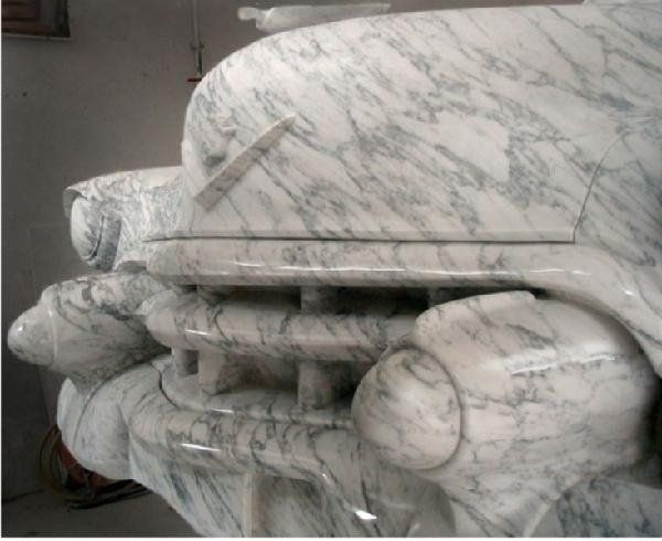 Hand Carved Landmark Statue Of a 1953 Cadillac Series 62 Sedan Made From Marble. 12 years in the making.