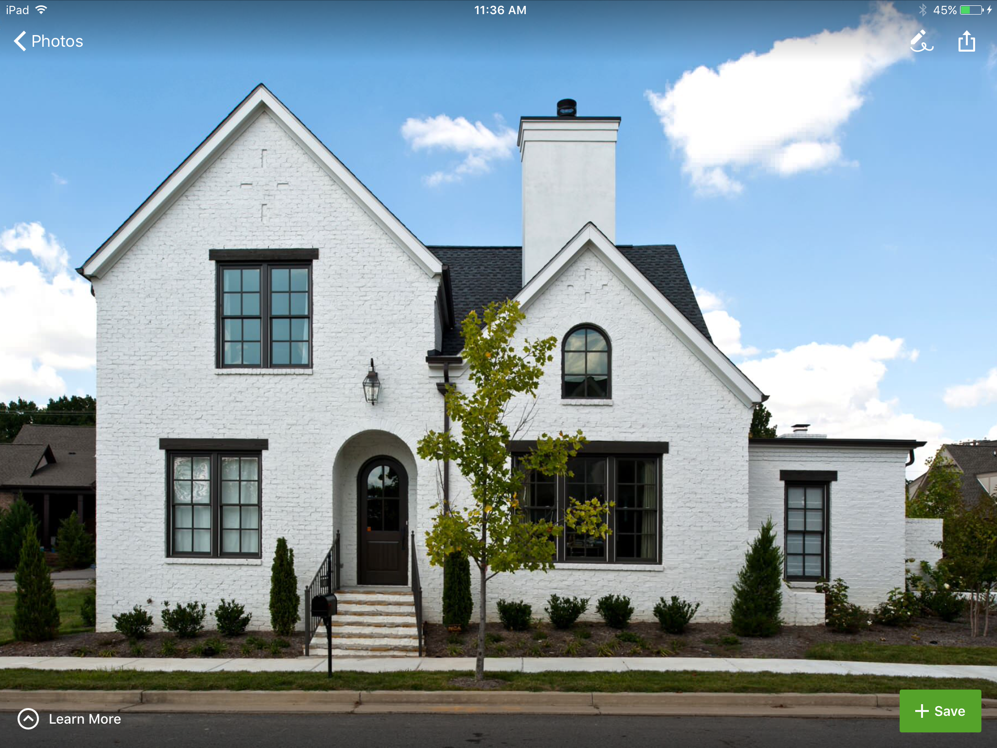 Dark Windows White Exterior Houses White Brick Houses Painted Brick House