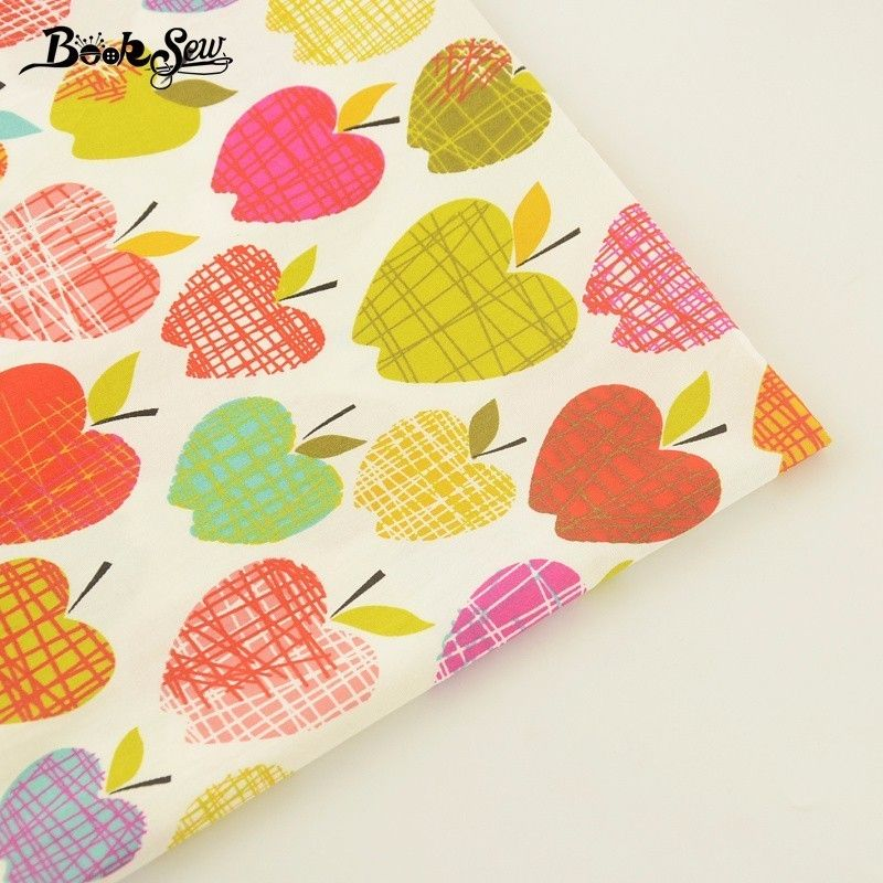 Booksew Colorful Apples Pattern 100% Cotton Twill Fabric Home Textile Sewing Tilda Cloth For Bedding Set Baby Craft Needlework #Affiliate