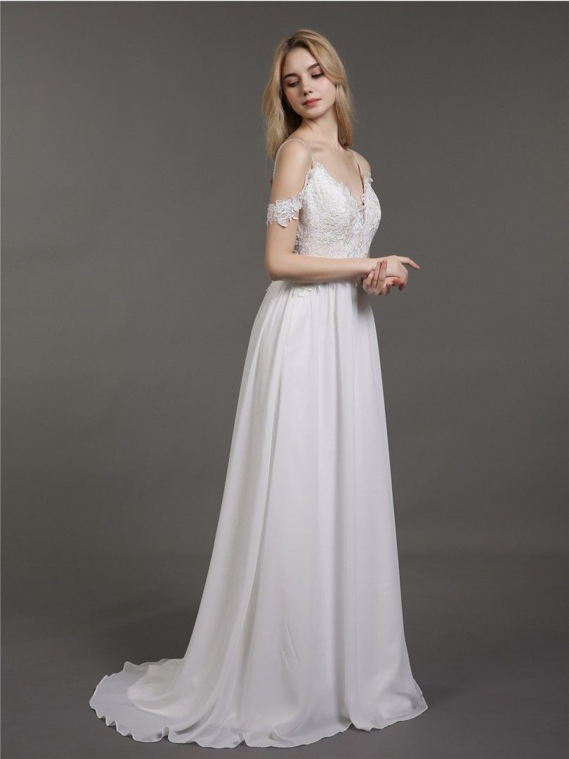 2b4d6f38707 Gaia Spaghetti Strap Chiffon Simple Wedding Dress