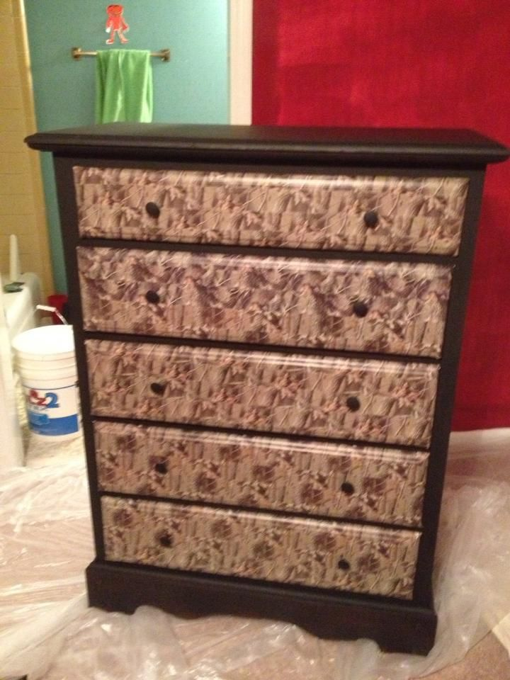 Dresser Makeover   old brown dresser  painted it black and wrapped the  front of the drawers in camo duck tape and replaced the pulls with round  textured  Dresser Makeover   old brown dresser  We painted it black and  . Mossy Oak Bedroom Accessories. Home Design Ideas