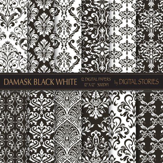 Damask Digital Paper DAMASK PAPER Damask Background Paper Damask Printables Damask Textures Vintage Damask Wallpaper instant download