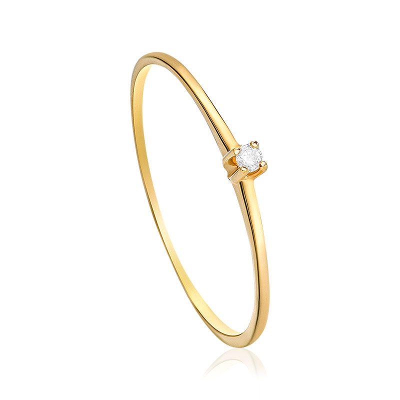 80a7ed8fa2150 Anel em Ouro Amarelo 18K com Diamante-Solitários - montecarlo ...