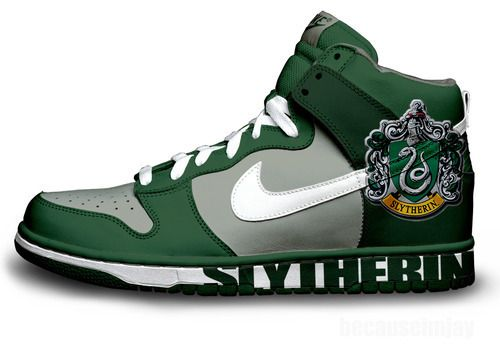 Slytherin pimped out Nike Shoes! \u003c3
