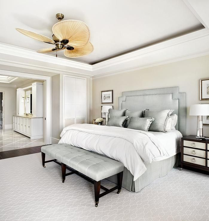 Gorgeous White And Gray Transitional Bedroom Boasts A Fanimation Windpointe 5 Blade Ceiling Fan Hung From Tray Over Silver Headboard
