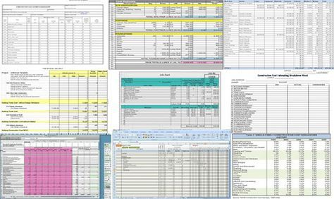 The construction estimating spreadsheet includes formulas to track - sample spreadsheet