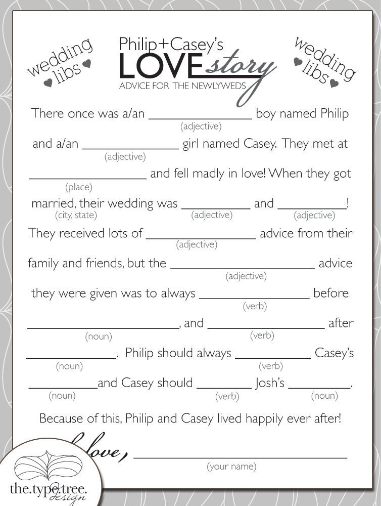 wedding mad libs diy printable pdf file by thetypetree on etsy 1000