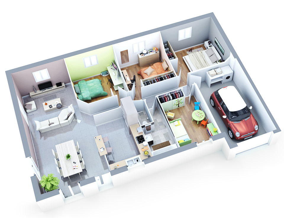 Maison petit budget luna top duo 100m2 home apartement for Plan maison contemporaine 100m2