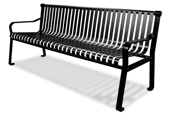 Commercial Steel Outdoor Bench With Straight Back Belson Outdoors In 2020 Outdoor Bench Bench Steel Bench