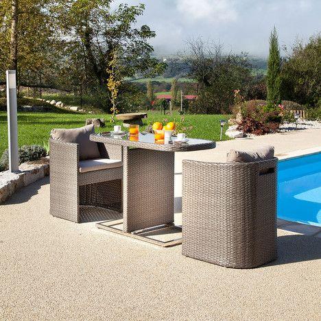 Petite Table Bari 3 pour balcon avec fauteuils arrondis prix promo ...