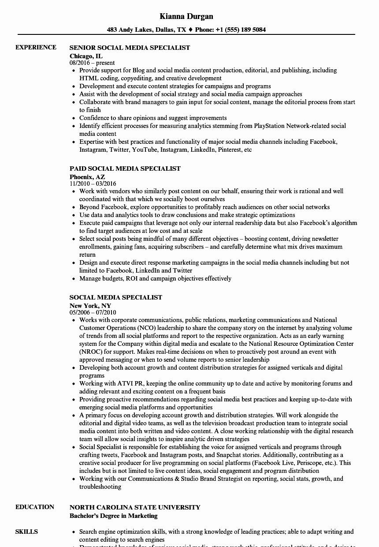 Social Media Resume Examples Best Of Social Media Specialist Resume Samples Resume Examples Good Resume Examples Resume