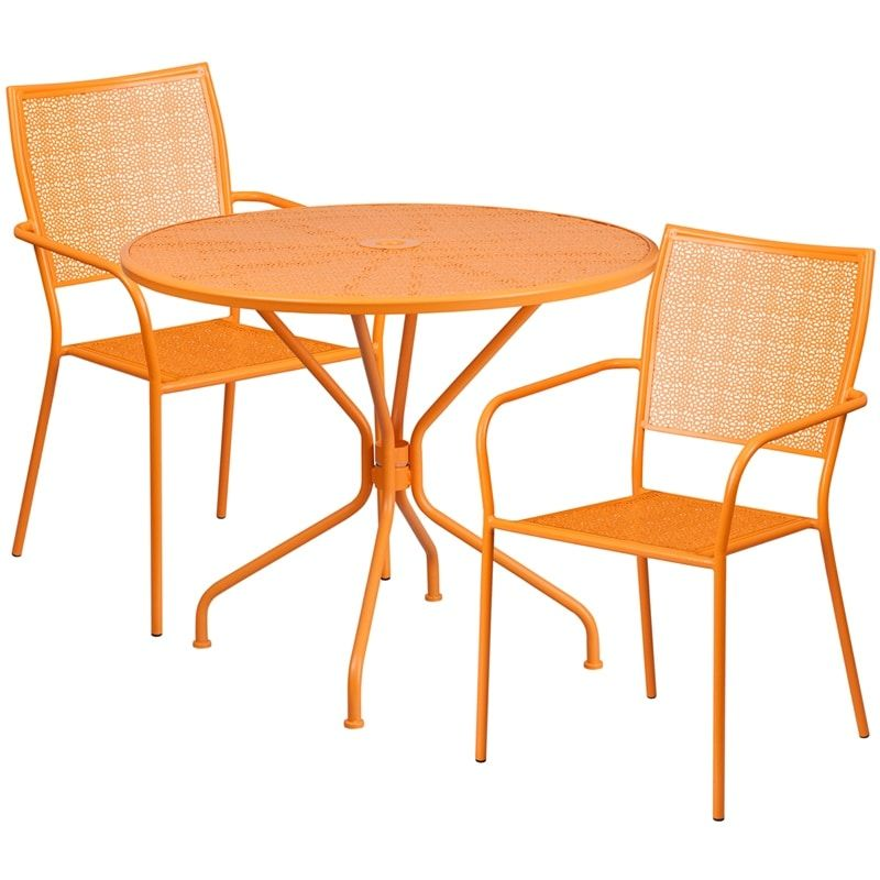 IHome Sterling Round 35.25u0027u0027 Orange Indoor Outdoor Steel Table Set W/2