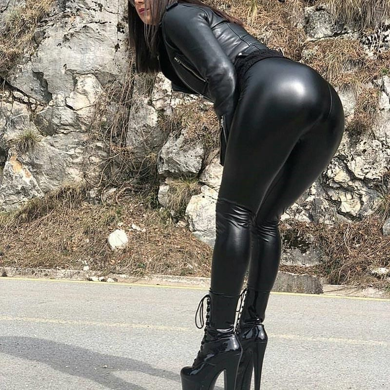 Stretch Leather Pants Plus Size