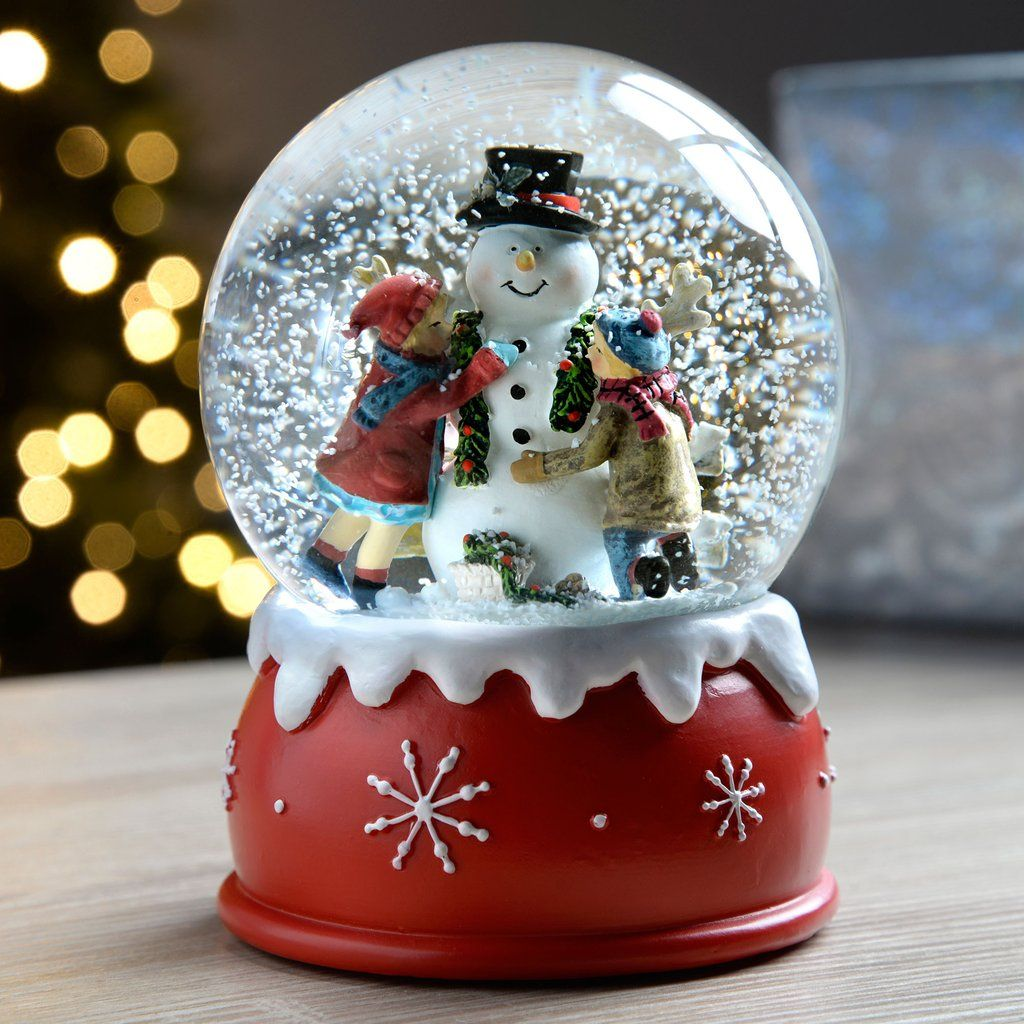 Children and Snowman Snow Globe Christmas Decoration