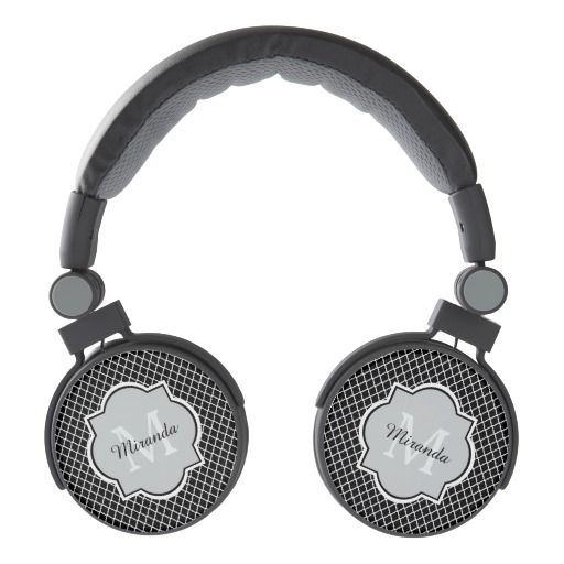 Add a sophisticated modern vibe to your personal style with these trendy black and white quatrefoil pattern headphones with a stylish framed monogram. Personalize this stylish design by adding your name and monogrammed initial.