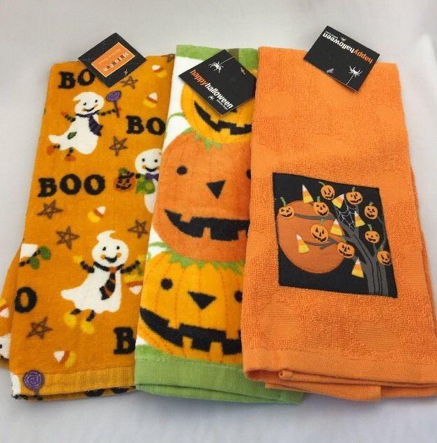 Kohl S Halloween Kitchen Towel Set Of 3 Dish Towel Fall Pumpkin