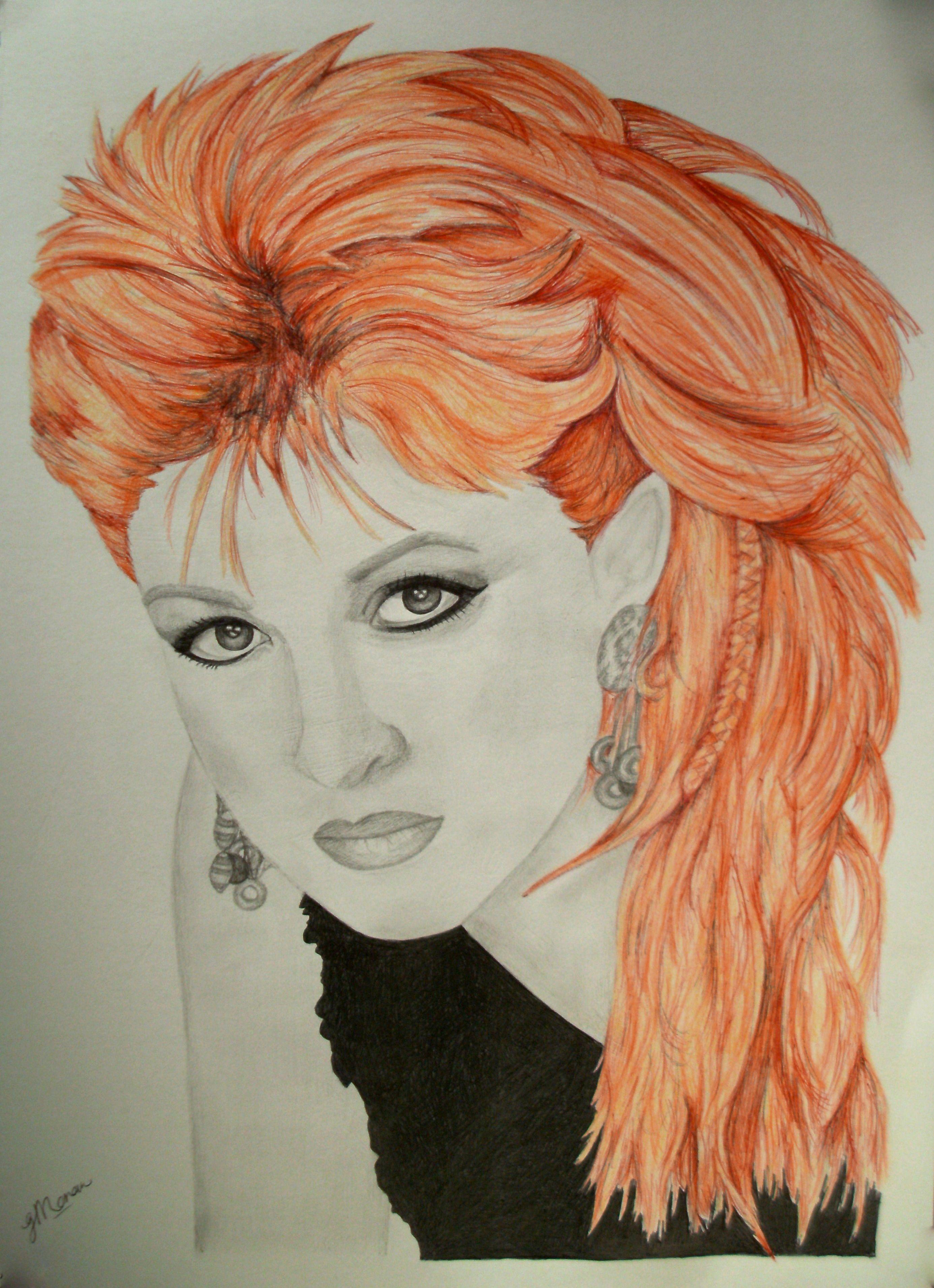 Cyndi Lauper portrait, A3 pencil and ink   Moonlight Gems Art ...