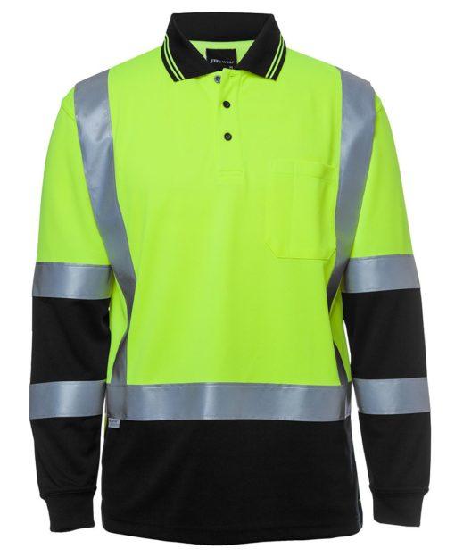 Jb S Hi Vis Long Sleeve H Pattern Trad Polo 6dhl Flash Uniforms