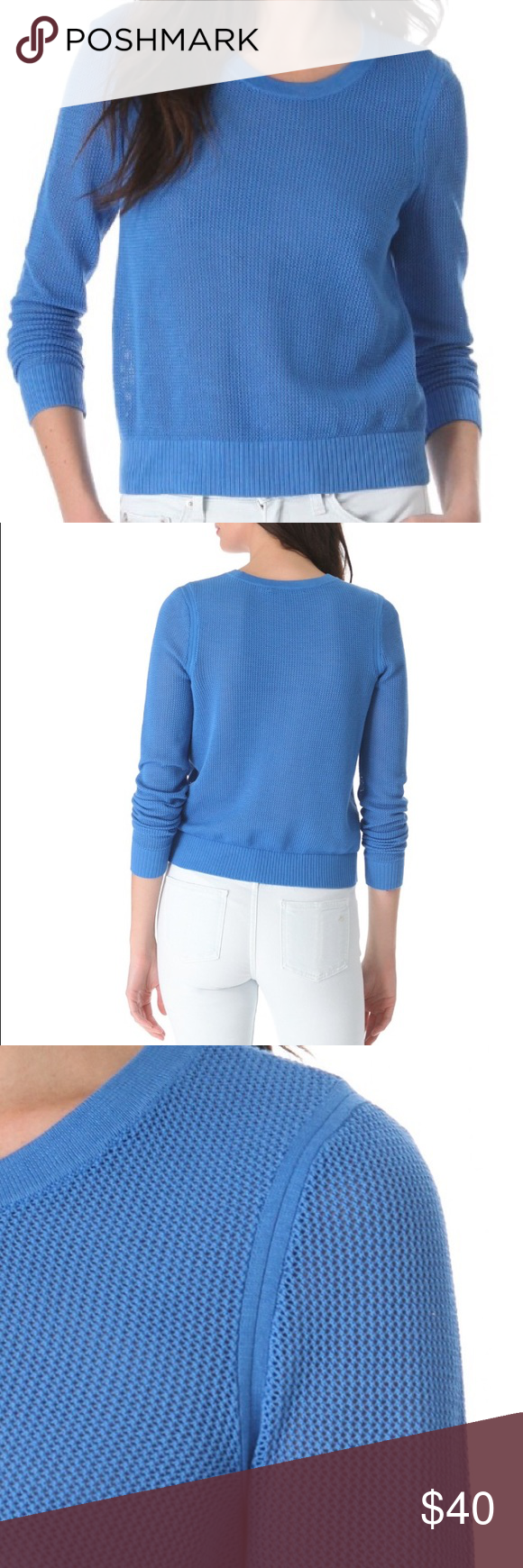 Rag & Bone/JEAN mesh sweater Fitted, ocean blue mesh/like sweater. Not see through. Crew neck. Gently worn. Size is M but fits like a S. 100%cotton rag & bone Sweaters Crew & Scoop Necks