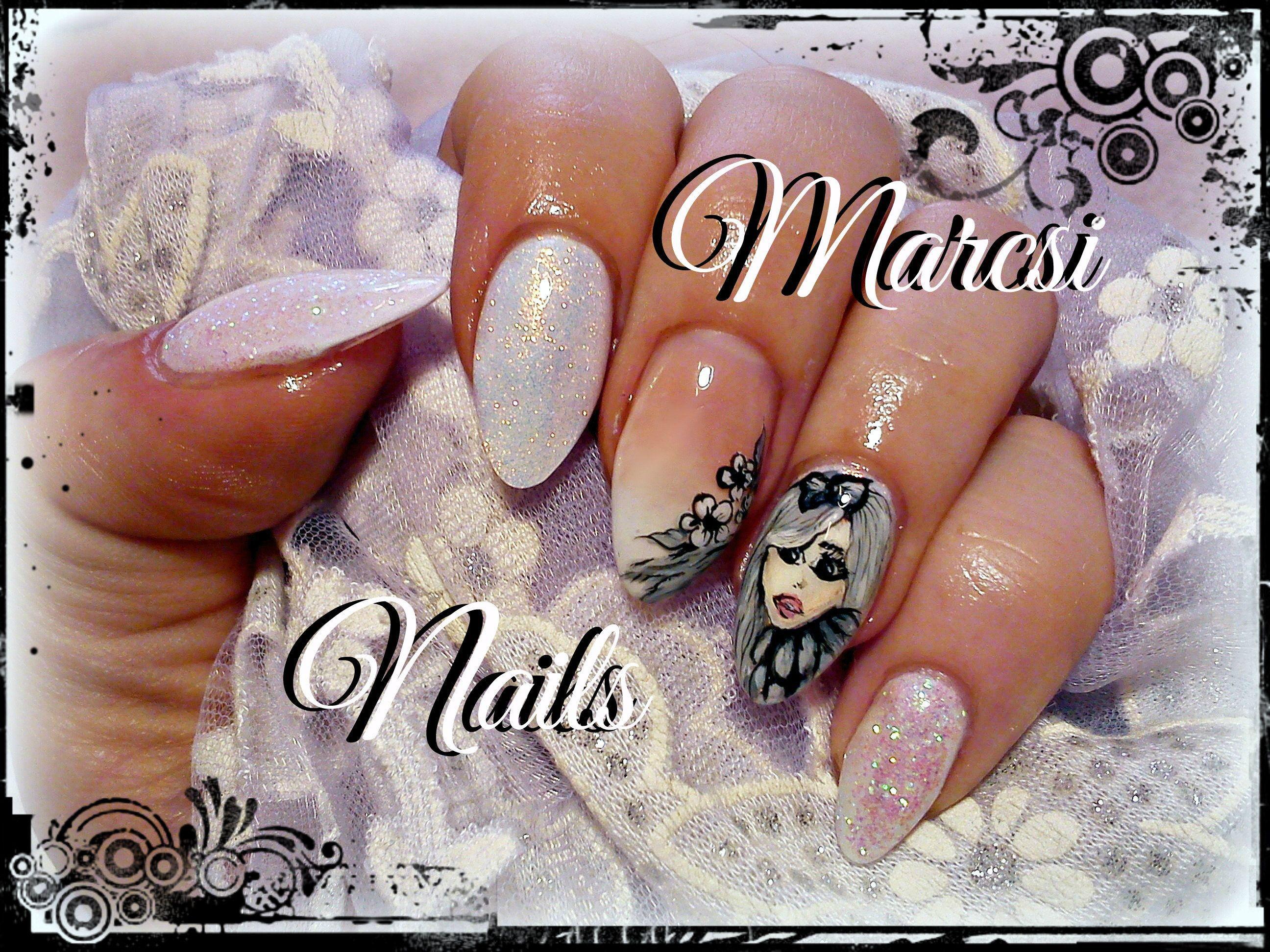 Woman face nail/ Girl face nail design/ White nail art, Baby boomer ...