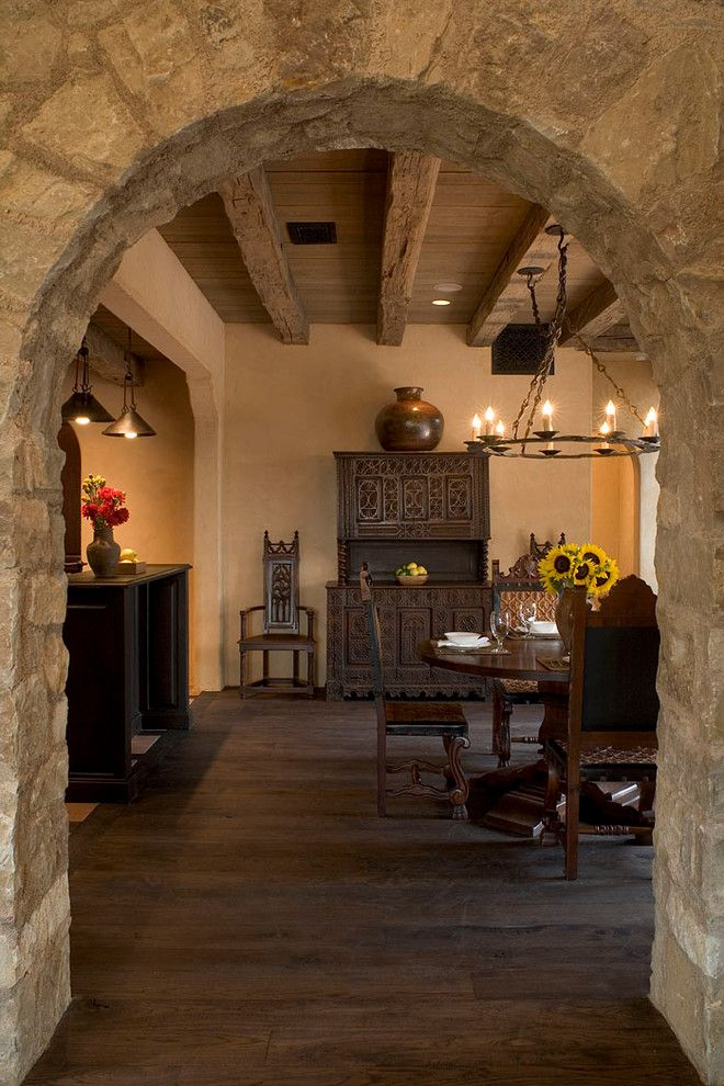 Stone And Wood Make A Dark Masculine Interior: Wall Arches Designs Dining Room Mediterranean With Wood