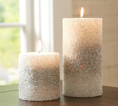 Pottery Barn Flameless Candles Awesome Silver Beaded Pillar Candles #potterybarnso Prettyi'd Use