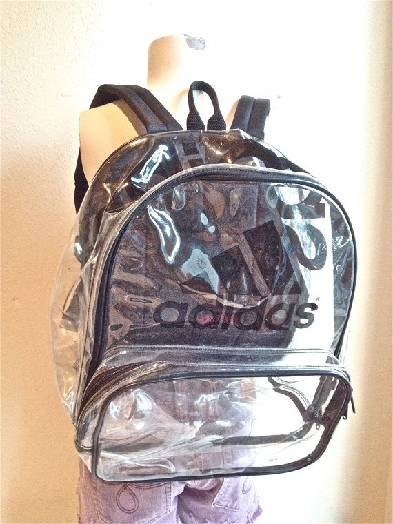 90 s Clear Adidas Large PVC See Through Transparent Backpack ... 23f4a5f9bc381