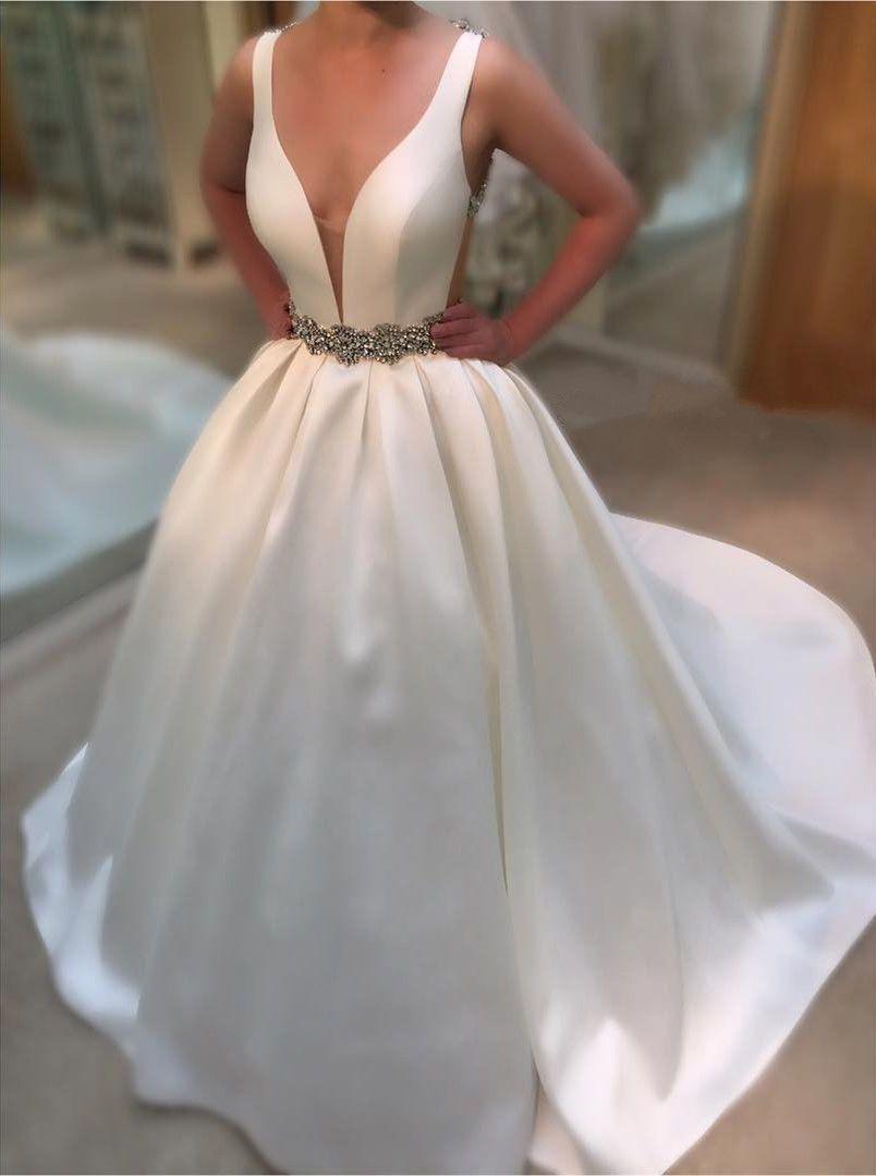 Deep v neck white satin ball gowns wedding dresses vintage