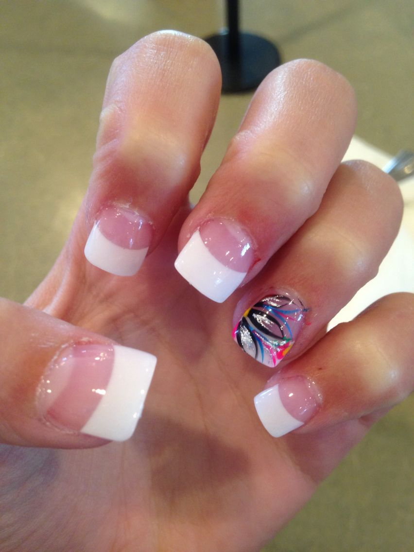 Cute Acrylic Nails Flare Nails French Tip Acrylic Nails Square