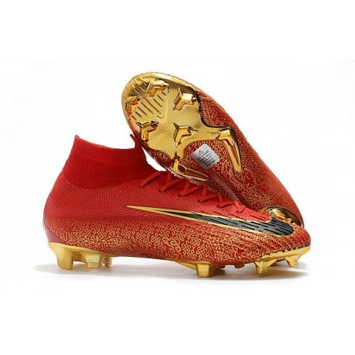 97911ed5882af Botas De Futbol Nike Mercurial Superfly VI Elite CR7 FG Dorado Rojo Negro | Mercurial  Superfly VI Elite CR7 | Mens football boots, Football boots, ...