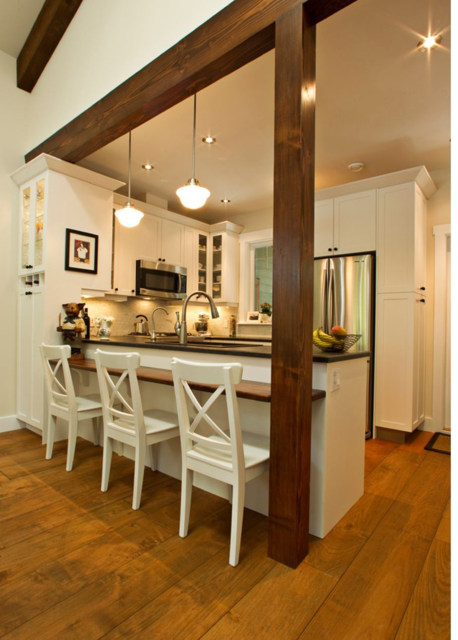 Bar height kitchen island  My full on kitchen remodel idea Opening the arch up between the