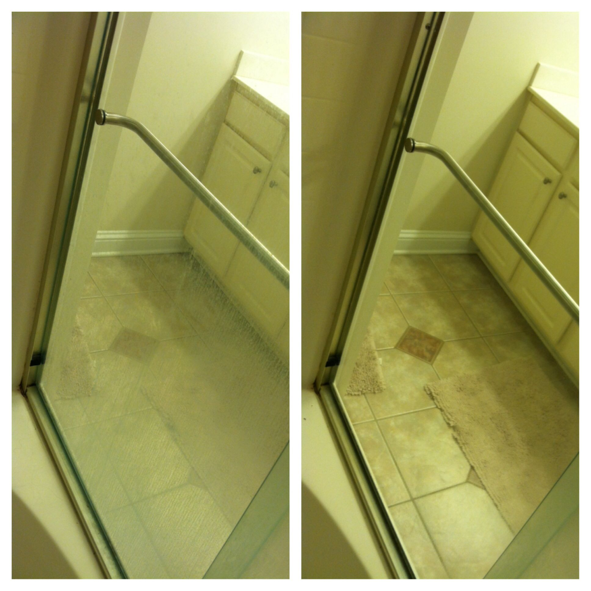 My glass shower door before and after cleaning with a wet enviro ...