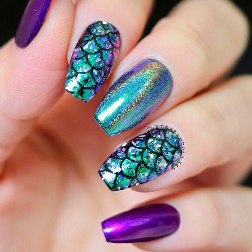 Sirena Manicura De Uñas Uñas Holográficas Y Uñas De Sirena