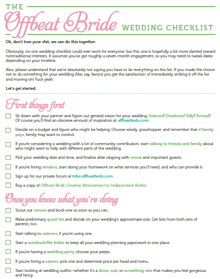 Free Printable Offbeat Bride Wedding Checklist Wedding Checklist Wedding Planning Checklist Bride Checklist