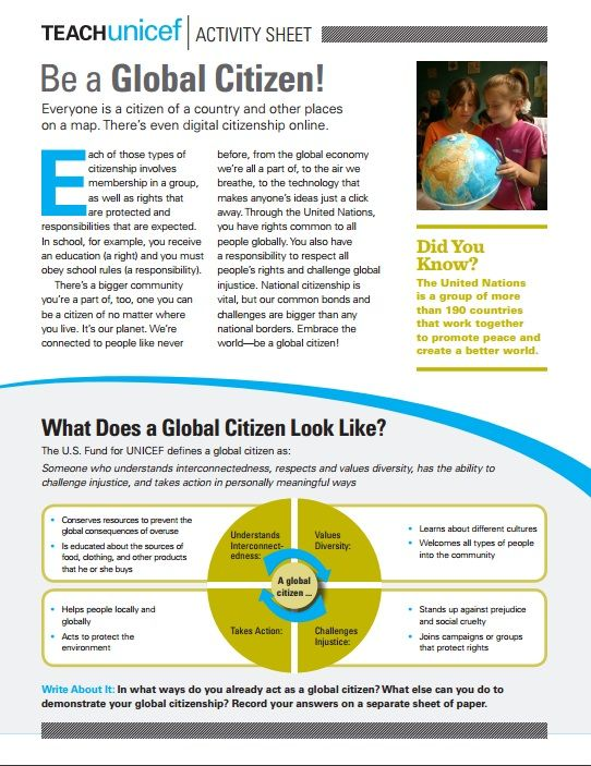 Activity Sheet to Teach about Global Citizenship grades 912 – Citizenship in the World Worksheet
