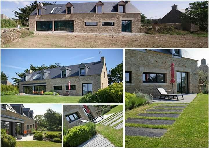 r novation contemporaine d 39 une long re bretonne jardin traditionnel et structures. Black Bedroom Furniture Sets. Home Design Ideas