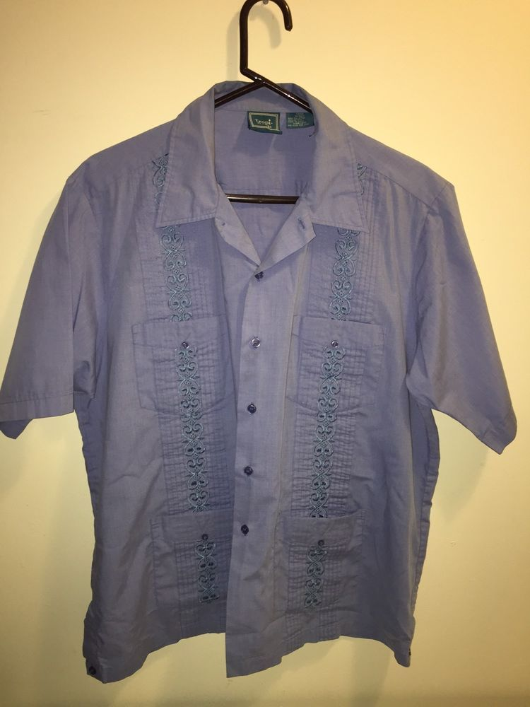 6440d38d2 Tropi-Cool Guayabera Shirt Short Sleeve Lounge Bowling Button Shirt Size L